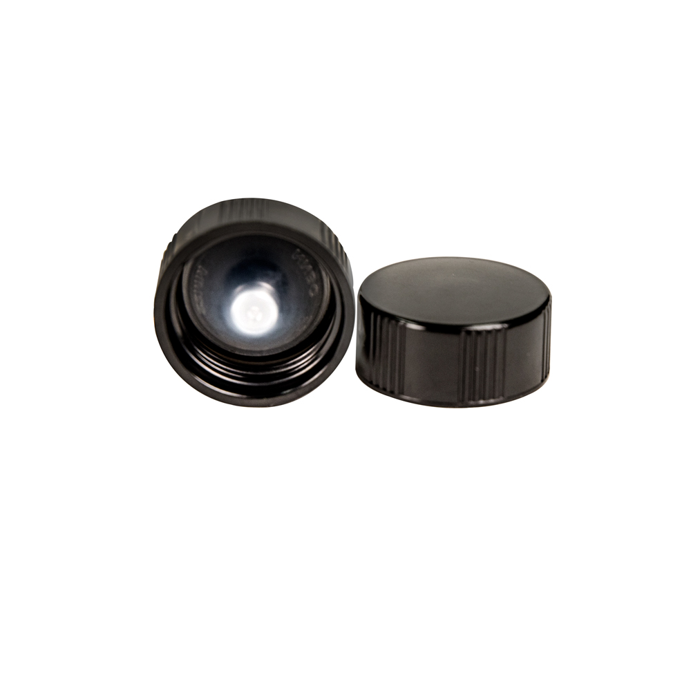 22/400 Black Phenolic Taperseal Cap with LDPE Liner
