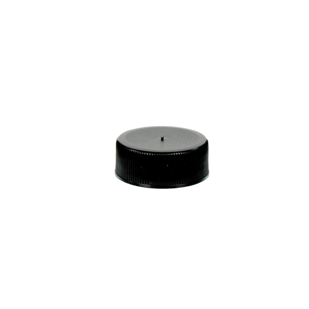 28/400 Black Polypropylene Unlined Ribbed Cap