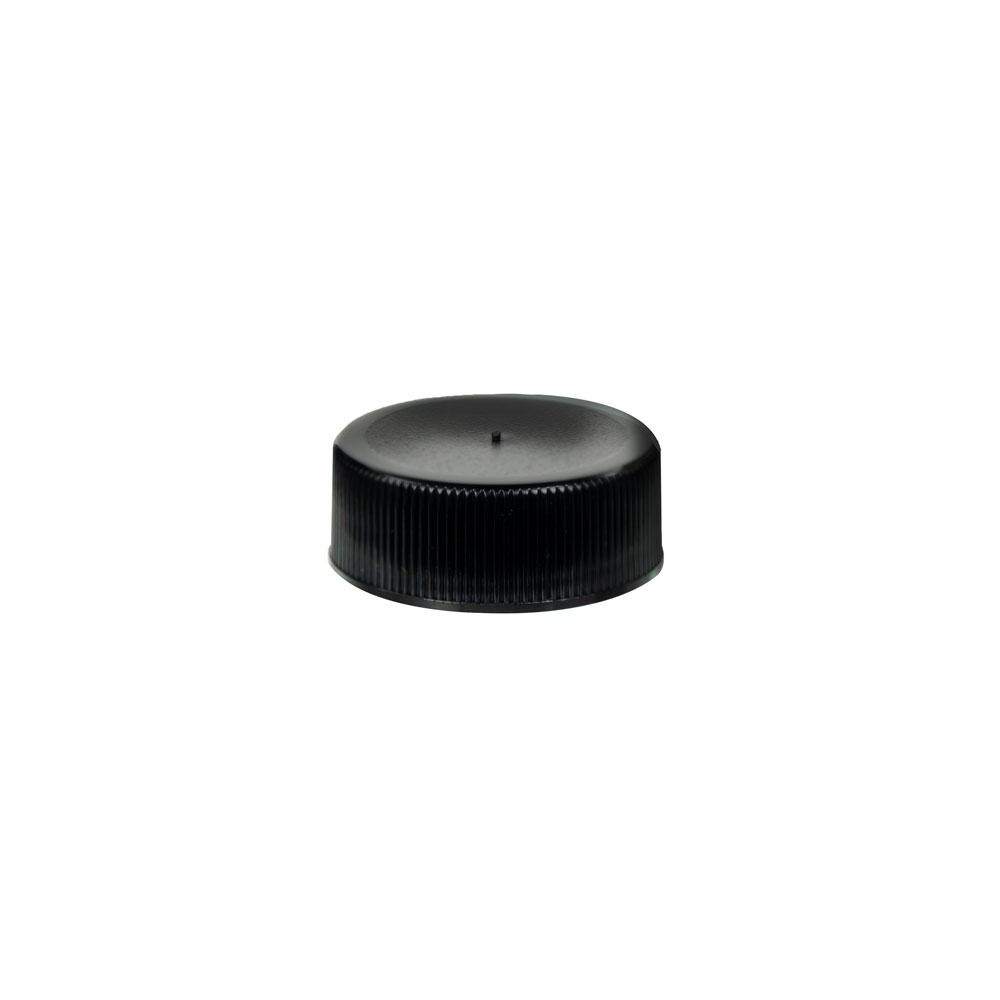 28/410 Black Polypropylene Unlined Ribbed Cap