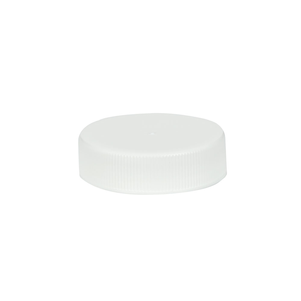 38/400 White Polypropylene Unlined Ribbed Cap