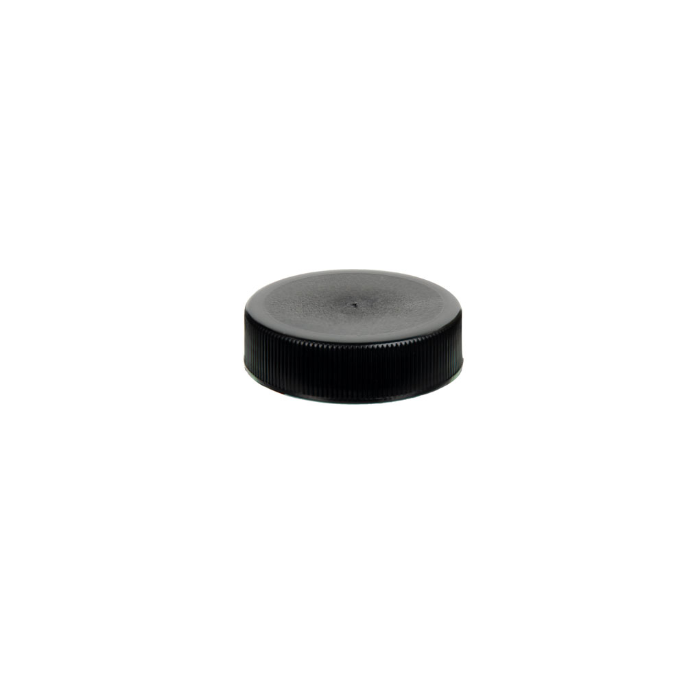 38/400 Black Polypropylene Unlined Ribbed Cap