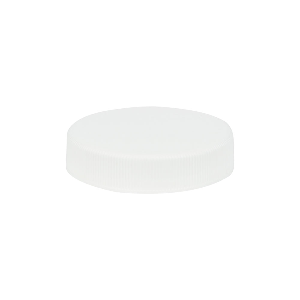 45/400 White Polypropylene Unlined Ribbed Cap