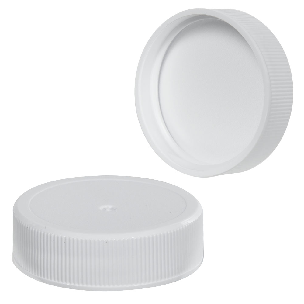 38/400 White Polypropylene Ribbed Cap with F217 Liner