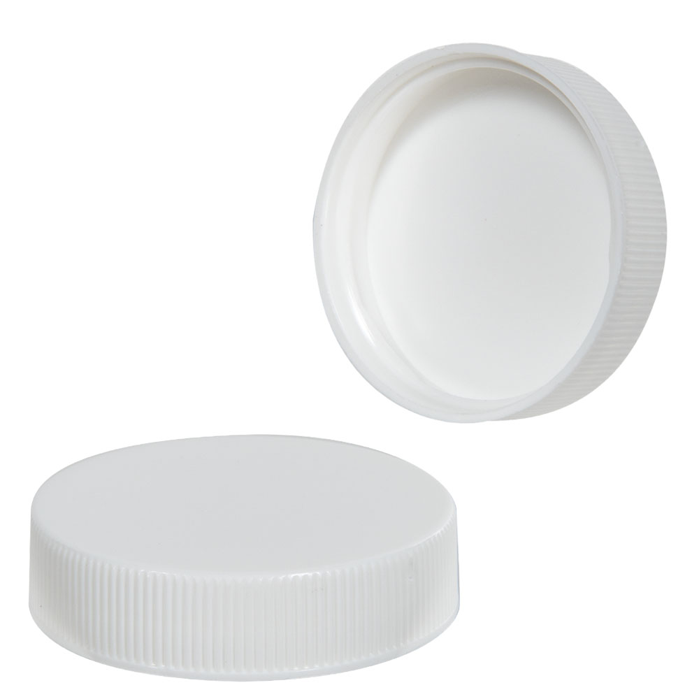 43/400 White Polypropylene Ribbed Cap with F217 Liner