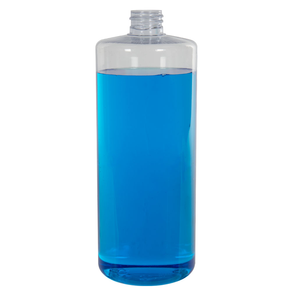 32 oz. Clear PVC Cylindrical Bottle with 28/410 Neck (Cap Sold Separately)