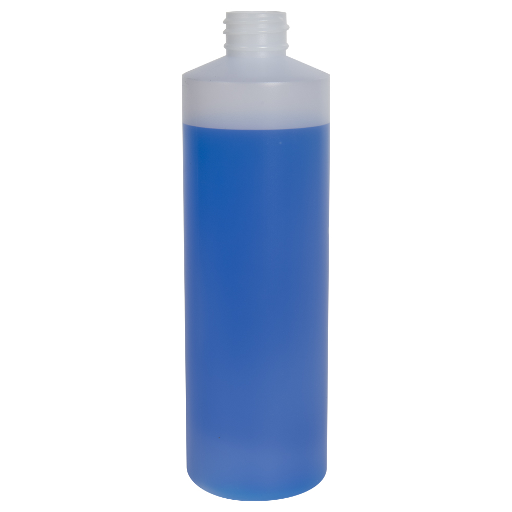 16 oz. Natural HDPE Cylindrical Sample Bottle with 28/410 Neck (Sprayer or Cap Sold Separately)
