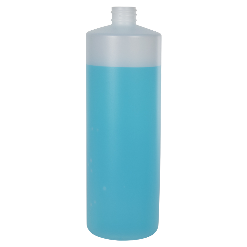 32 oz. Natural HDPE Cylindrical Sample Bottle with 28/410 Neck (Sprayer or Cap Sold Separately)