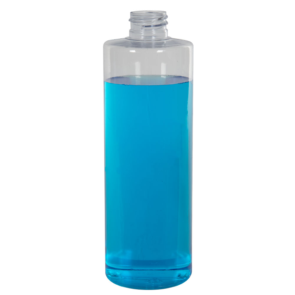 16 oz. Clear PVC Cylindrical Bottle with 28/410 Neck (Cap Sold Separately)