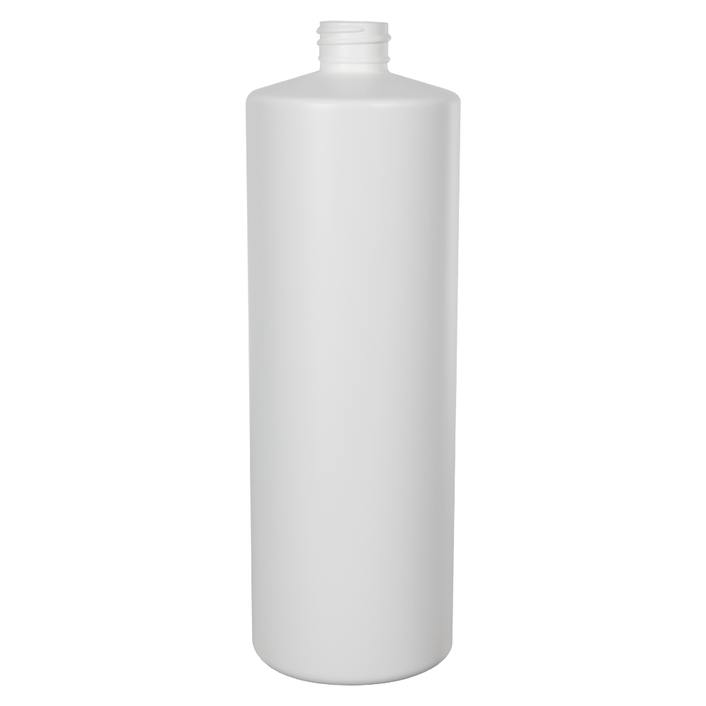 32 oz. White HDPE Cylindrical Sample Bottle with 28/410 Neck (Sprayer or Cap Sold Separately)