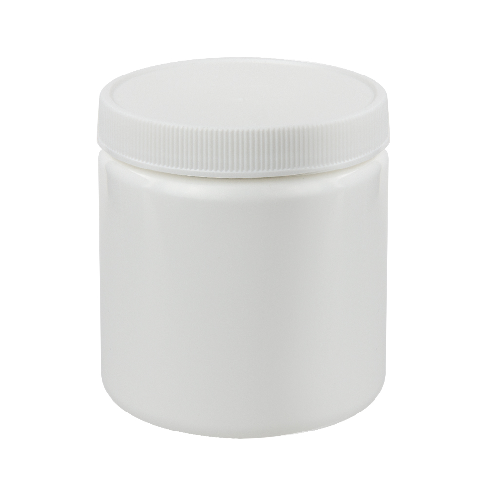 8 oz. White Straight Sided Jar with 70/400 Cap
