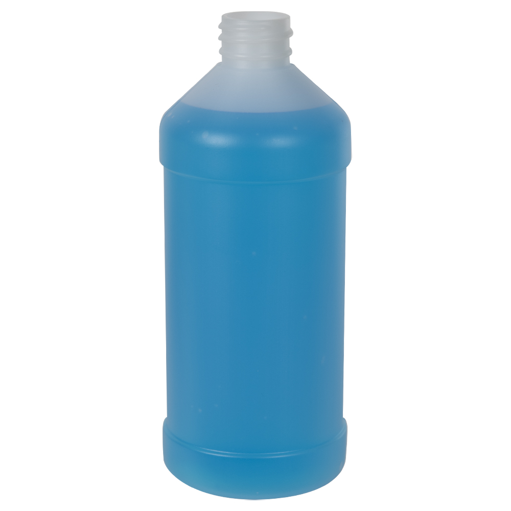 16 oz. Natural HDPE Modern Round Bottle with 28/410 Neck (Cap Sold Separately)
