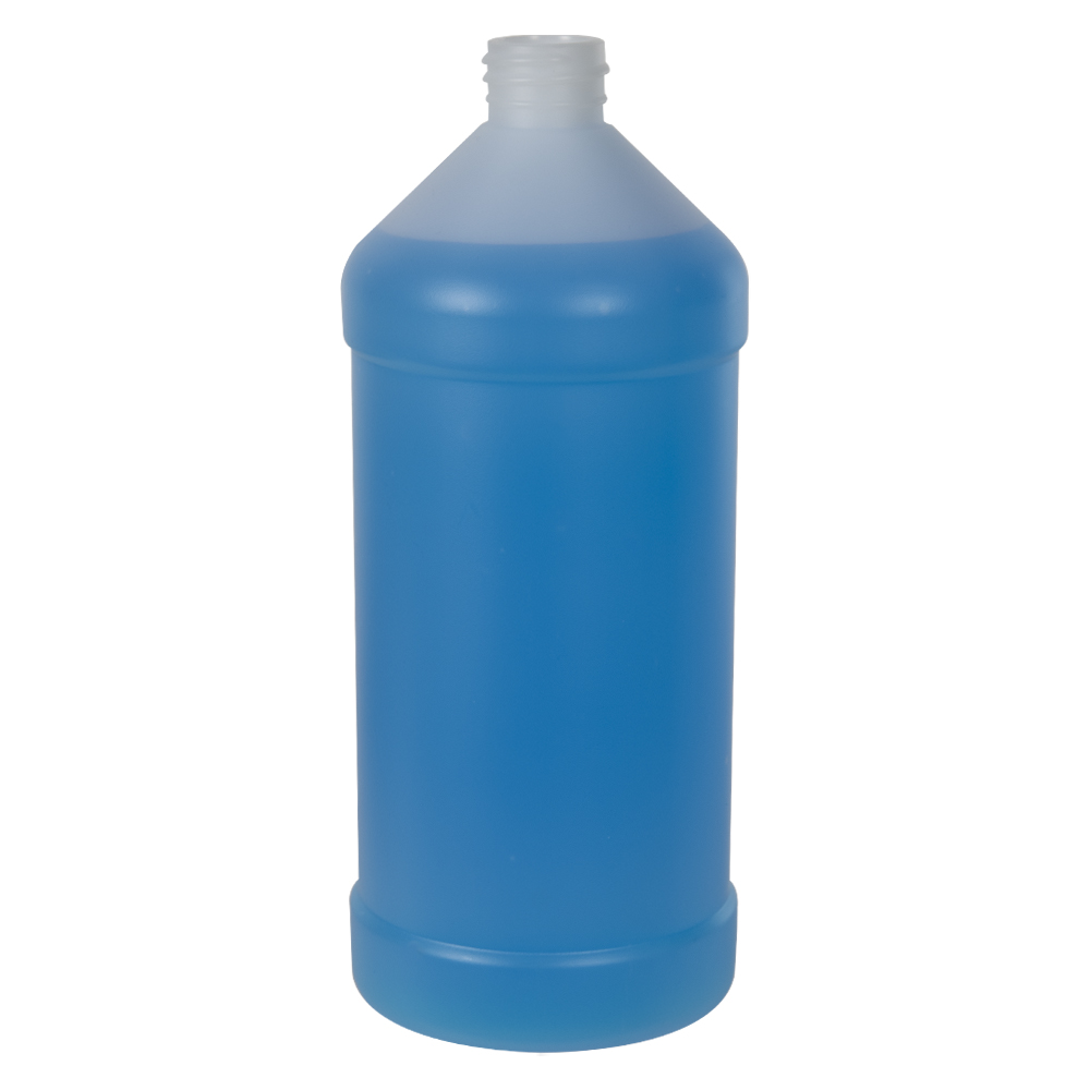 32 oz. Natural Modern Round Bottle with 28/410 Neck (Cap Sold Separately)