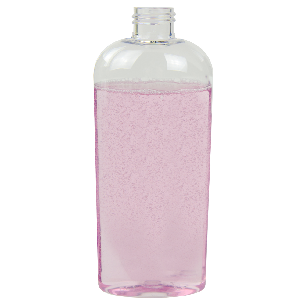 8 oz. Clear Cosmo High Clarity Oval Bottle with 24/410 Neck (Cap Sold Separately)