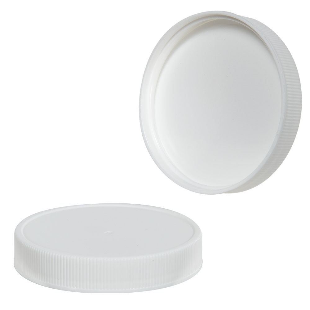 63/400 White Polypropylene Ribbed Cap with F217 Liner