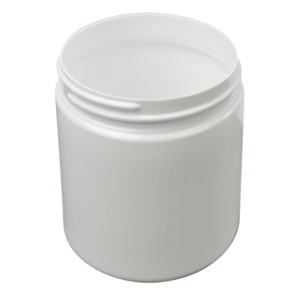 16 oz. White PET Straight Sided Jar with 89/400 Neck (Cap Sold Separately)