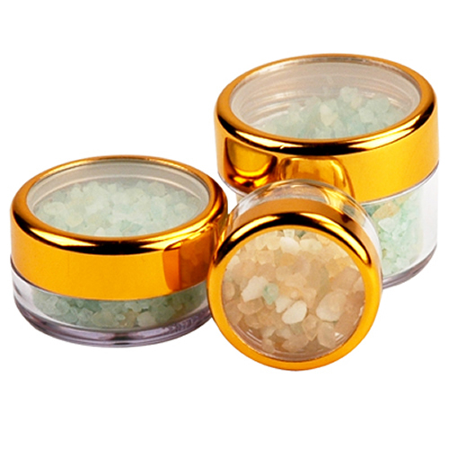 .3 oz./9mL Clear Acrylic Jars with Clear Gold Trim Cap