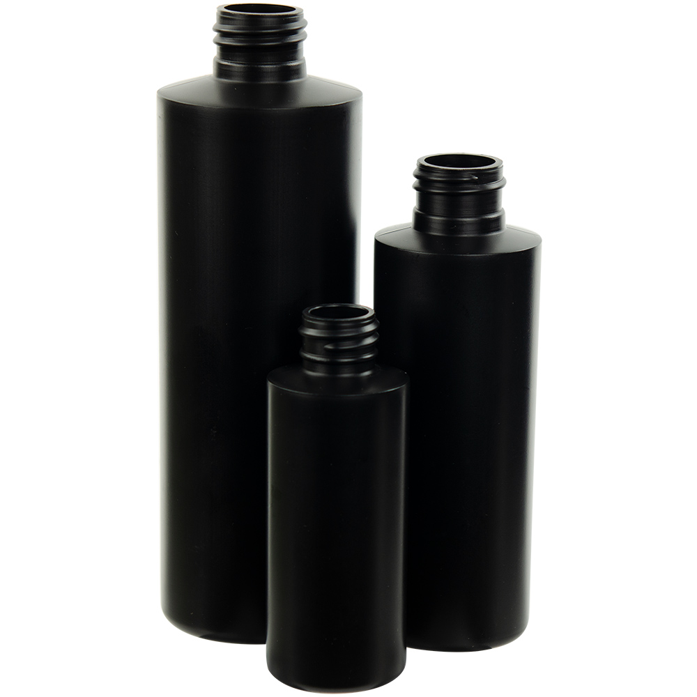 Black HDPE Cylindrical Sample Bottles & Caps