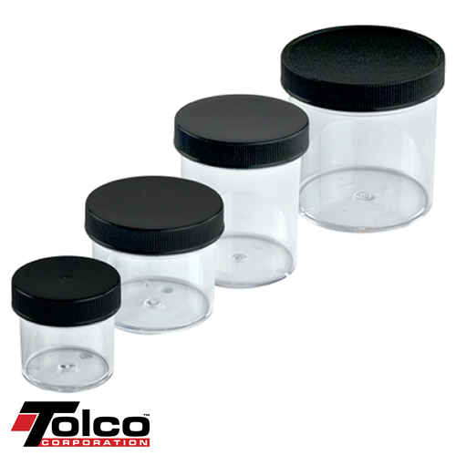 Clear Polystyrene Jars with Black Caps