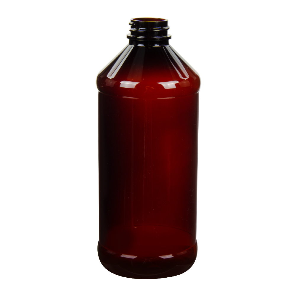 16 oz. Modern Round Amber PET Bottle with 28/400 Neck (Cap Sold Separately)