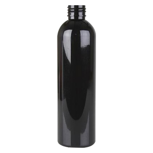 6 oz. Black PET Cosmo Round Bottle with 24/410 Neck (Cap Sold Separately)