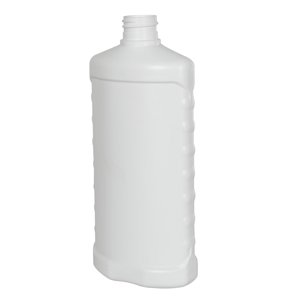 16 oz. White HDPE Oval Bottle with Side Grips & 28/410 Neck  (Cap Sold Separately)