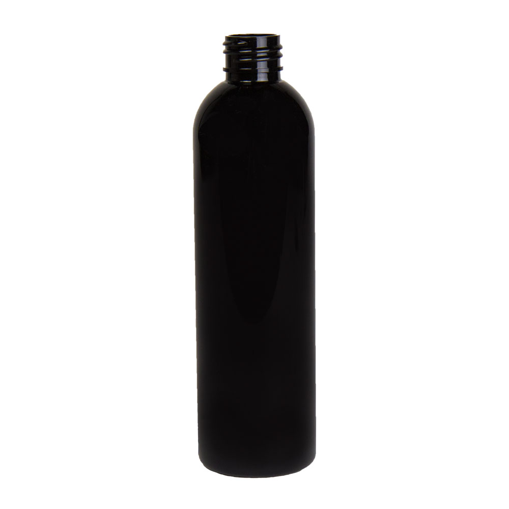 8 oz. Black PET Cosmo Round Bottle with 24/410 Neck (Cap Sold Separately)
