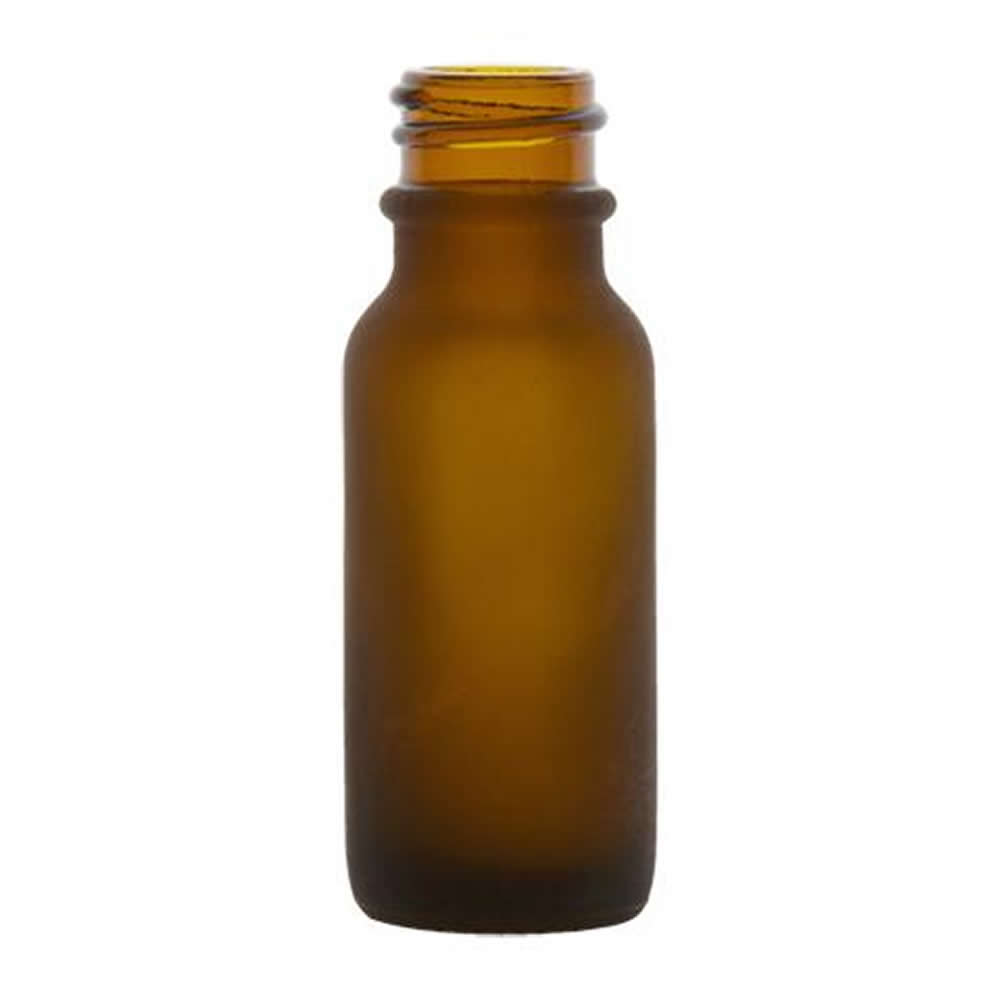 1 2 Oz Amber Frosted Glass Boston Round Bottle With 18