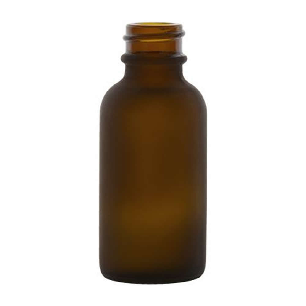 1 oz. Amber Frosted Glass Boston Round Bottle with 20/400 Neck (Cap Sold Separately)