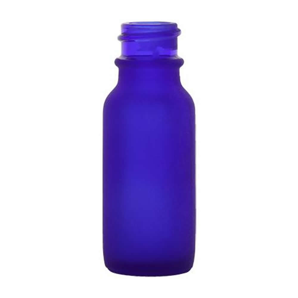 Oz cobalt frosted glass boston round bottle with