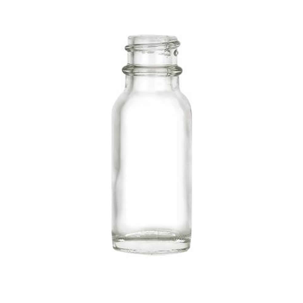 1/2 oz. Clear Glass Boston Round Bottle with 18/400 Neck (Cap Sold Separately)