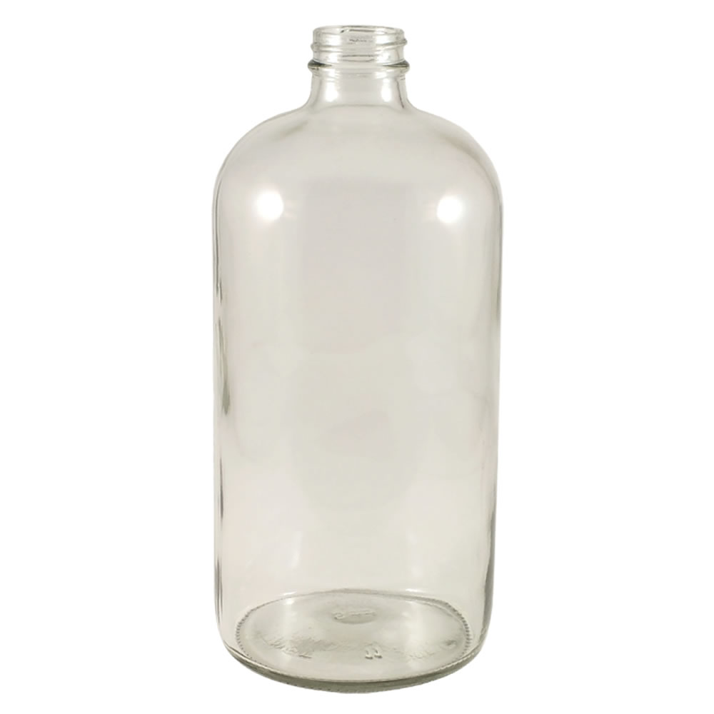 32 oz. Clear Glass Boston Round Bottle with 33/400 Neck (Cap Sold Separately)