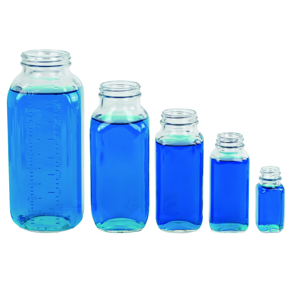 Wide Mouth French Square Glass Bottles