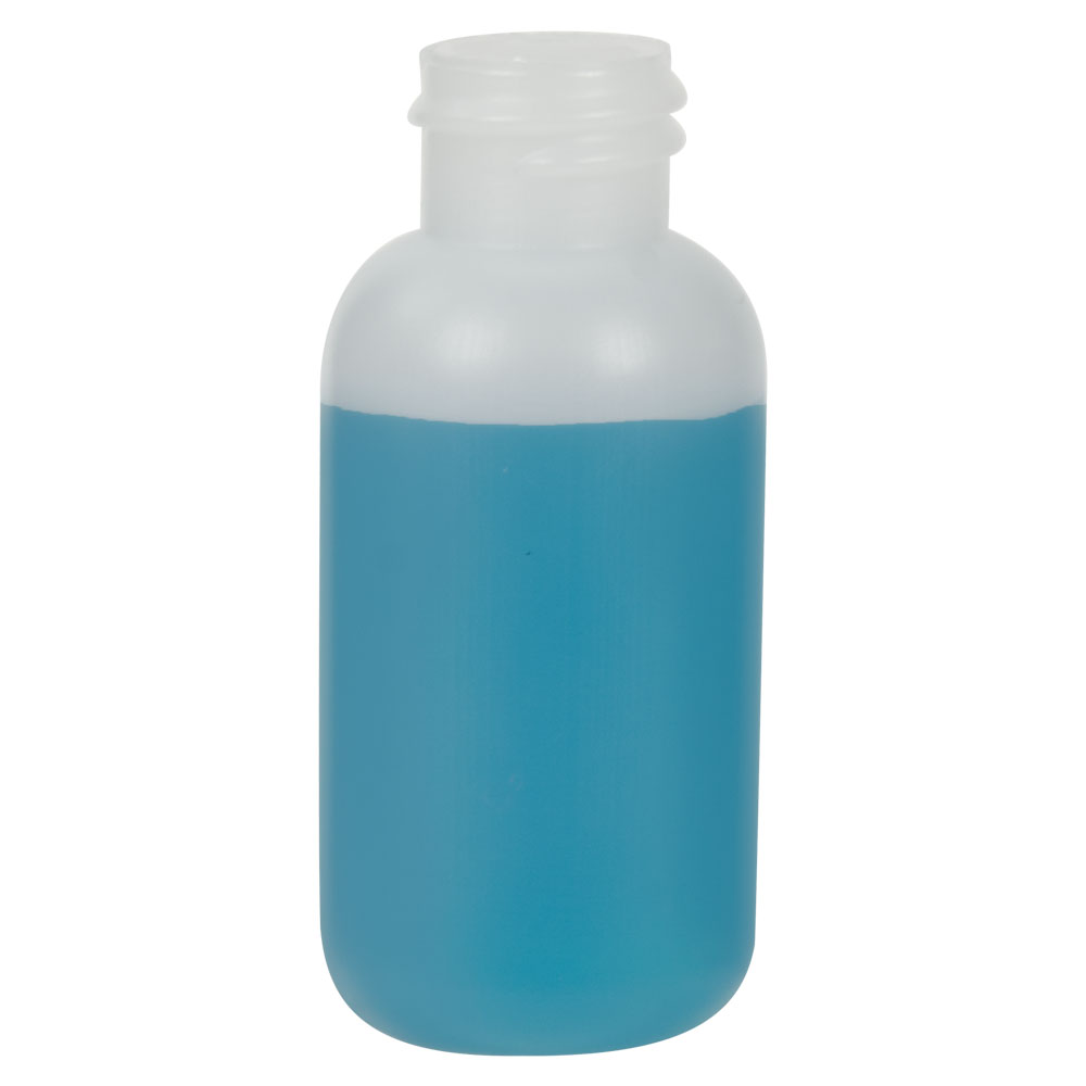 1 oz. HDPE Natural Boston Round Bottle with 20/410 Neck  (Cap Sold Separately)