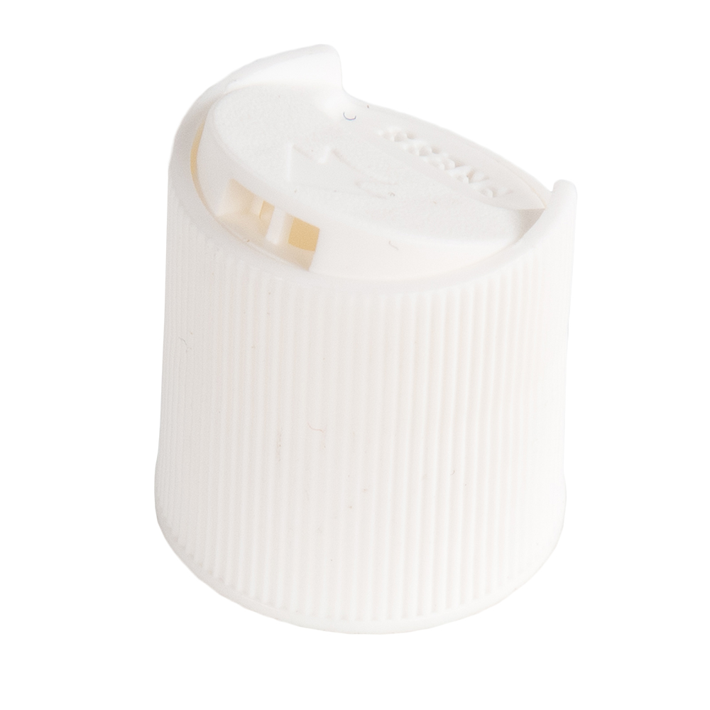 White Ribbed Disc Top Cap with 20/410 Neck