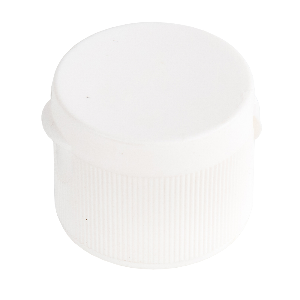 """28/410 White Ribbed Snap-Top Dispensing Cap with 0.125"""" Orifice"""
