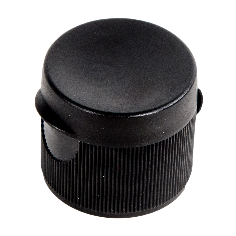 """20/410 Black Ribbed Snap-Top Cap with .125"""" Orifice"""