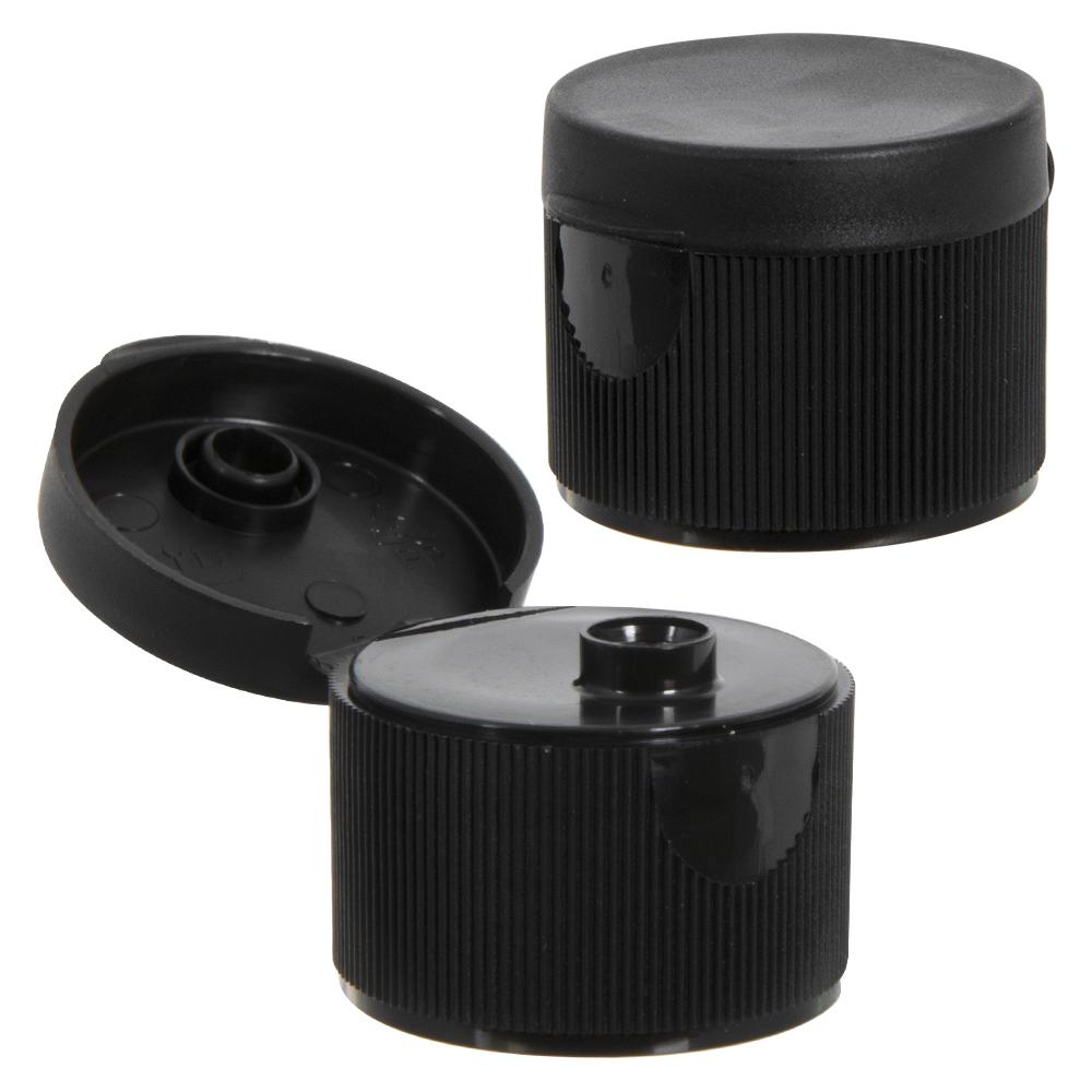 "28/410 Black Ribbed Snap-Top Dispensing Cap with 0.25"" Orifice"