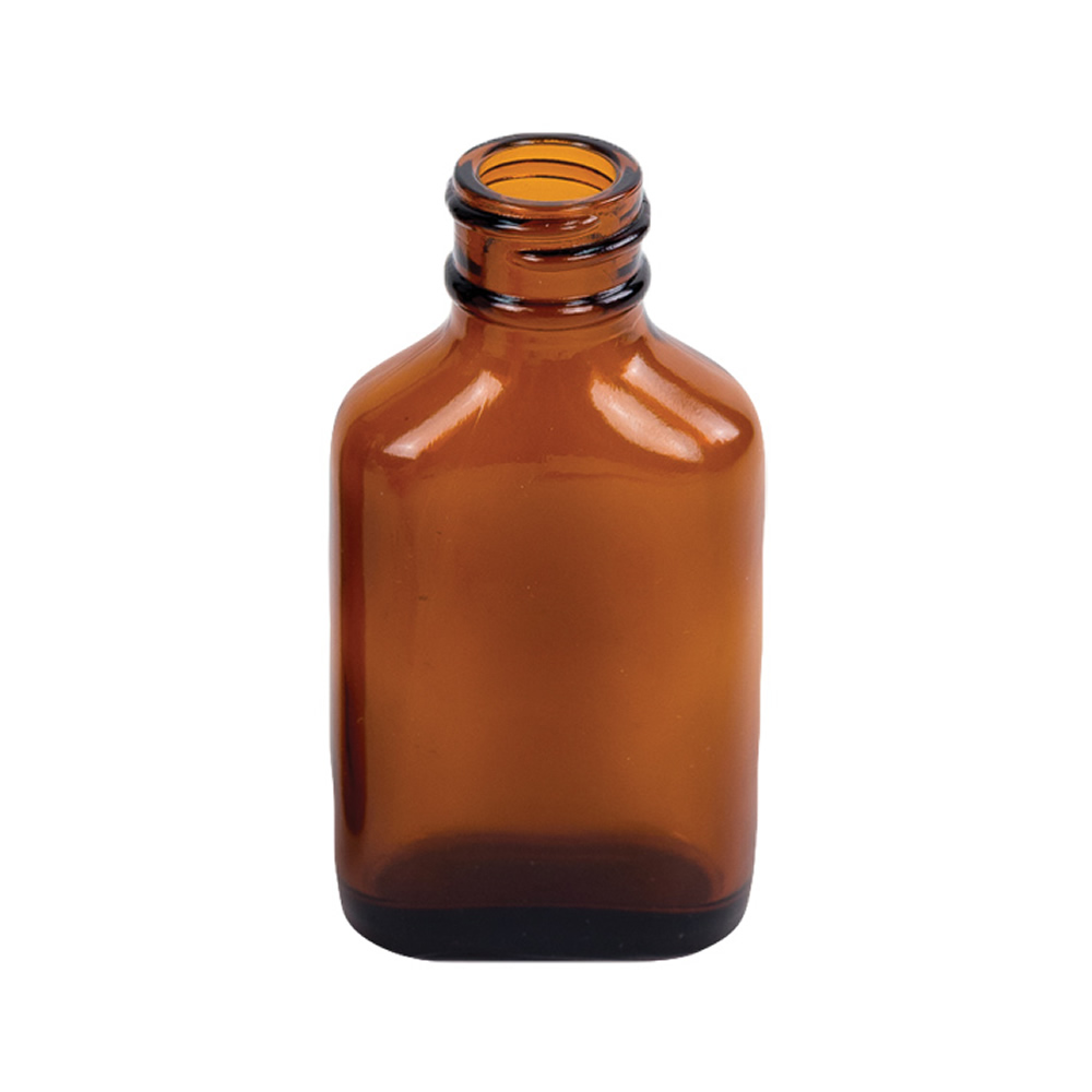 1 oz. Rockefeller Century Oval Amber Glass Bottle with 20/400 Neck  (Cap Sold Separately)