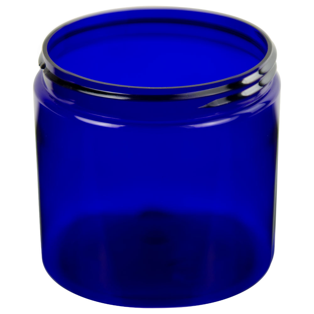 8 oz. Cobalt Blue PET Straight Sided Jar with 70/400 Neck (Cap Sold Separately)