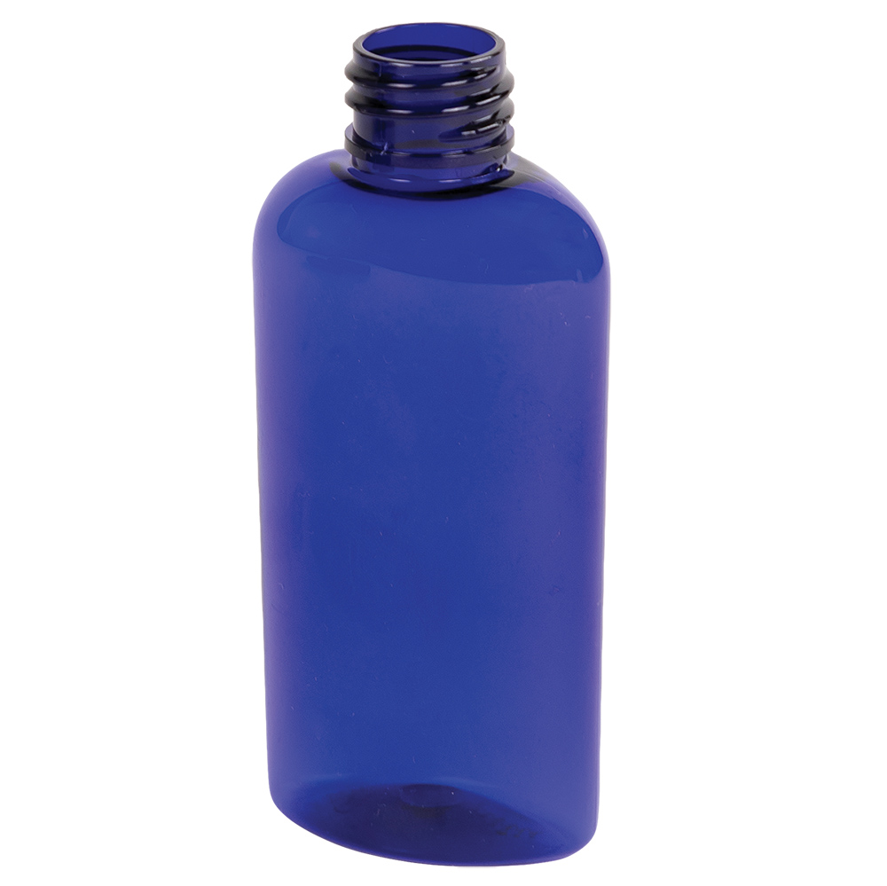 2 oz. Cobalt Blue PET Cosmo Oval Bottle with 20/410 Neck  (Cap Sold Separately)