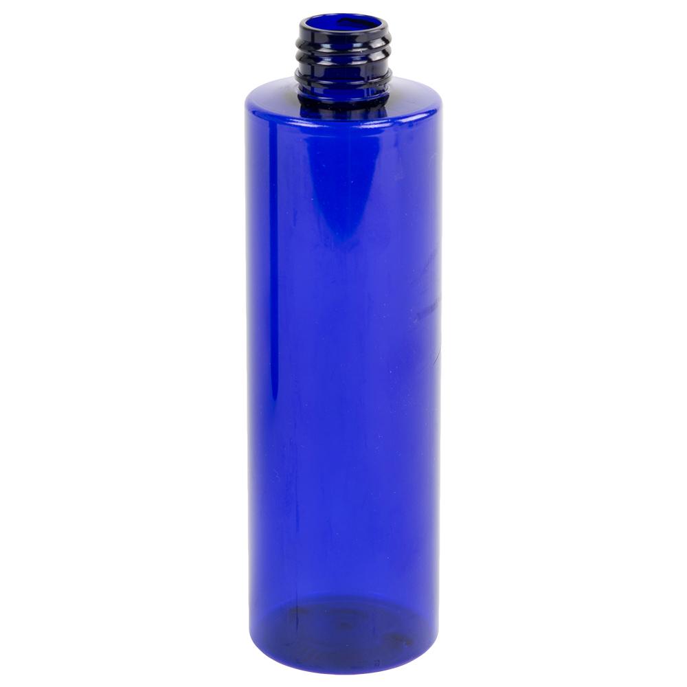 8 oz. Blue PET Cylinder Bottle with 24/410 Neck  (Cap Sold Separately)