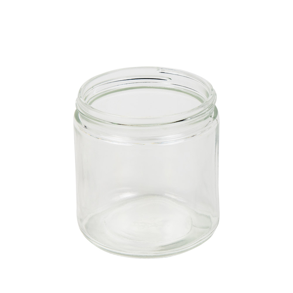 16 oz. Clear Glass Straight Sided Jar with 89/405 Neck - Case of 12 (Cap Sold Separately)