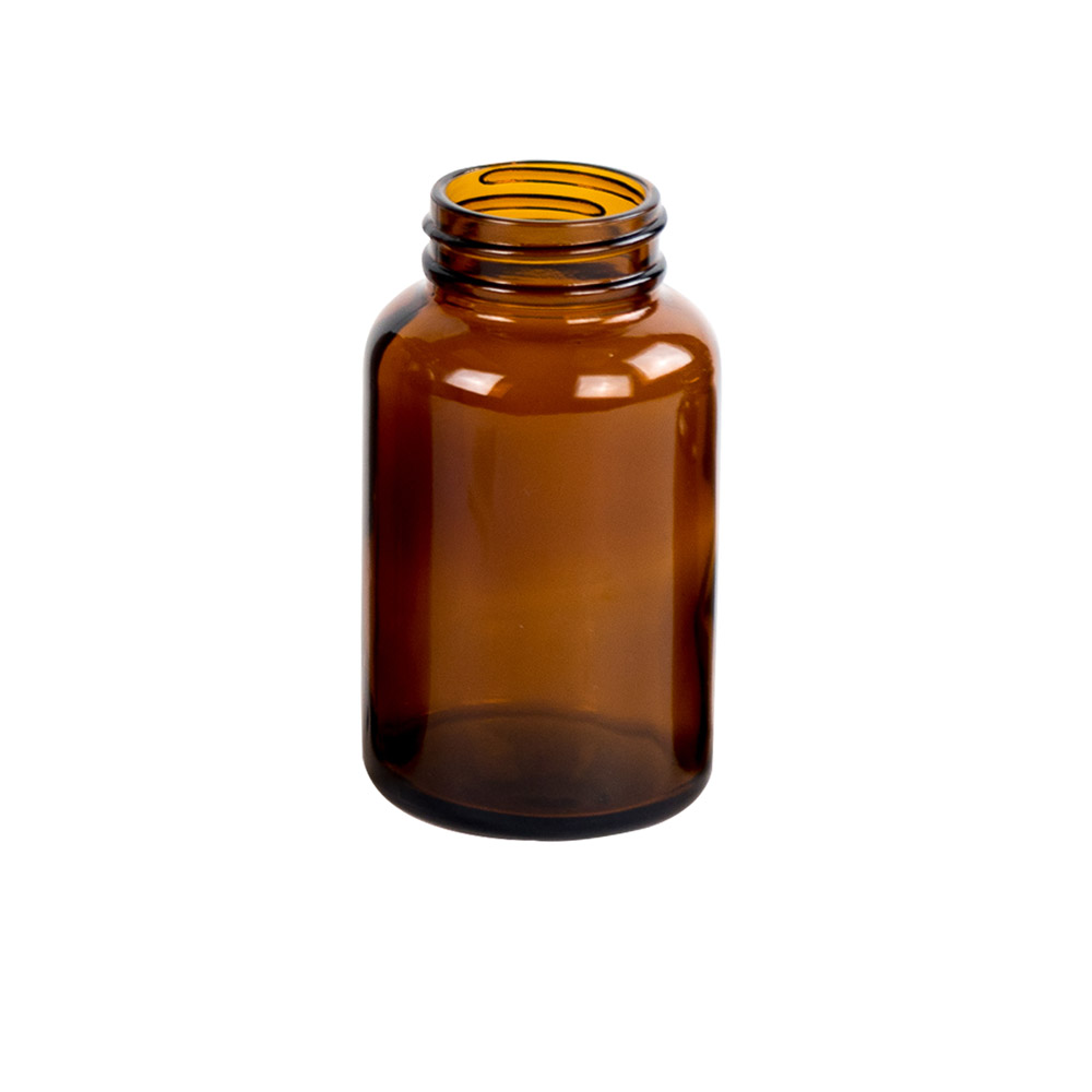120mL Glass Wide Mouth Amber Packer with 38/400 Neck  (Cap Sold Separately)
