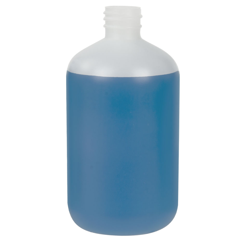 16 oz. HDPE Natural Boston Round Bottle with 28/410 Neck  (Cap Sold Separately)