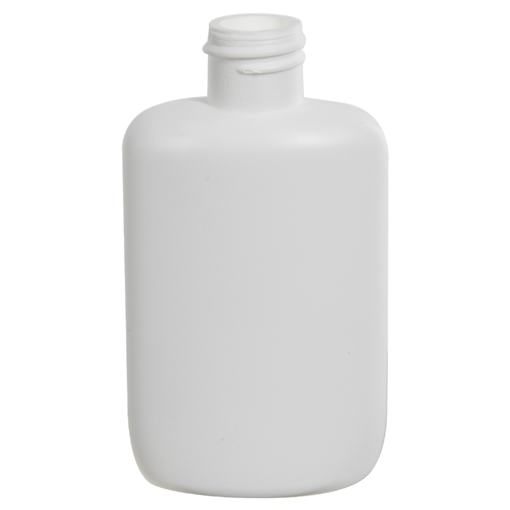 2 oz. HDPE White Oval Bottle with 20/410 Neck  (Cap Sold Separately)