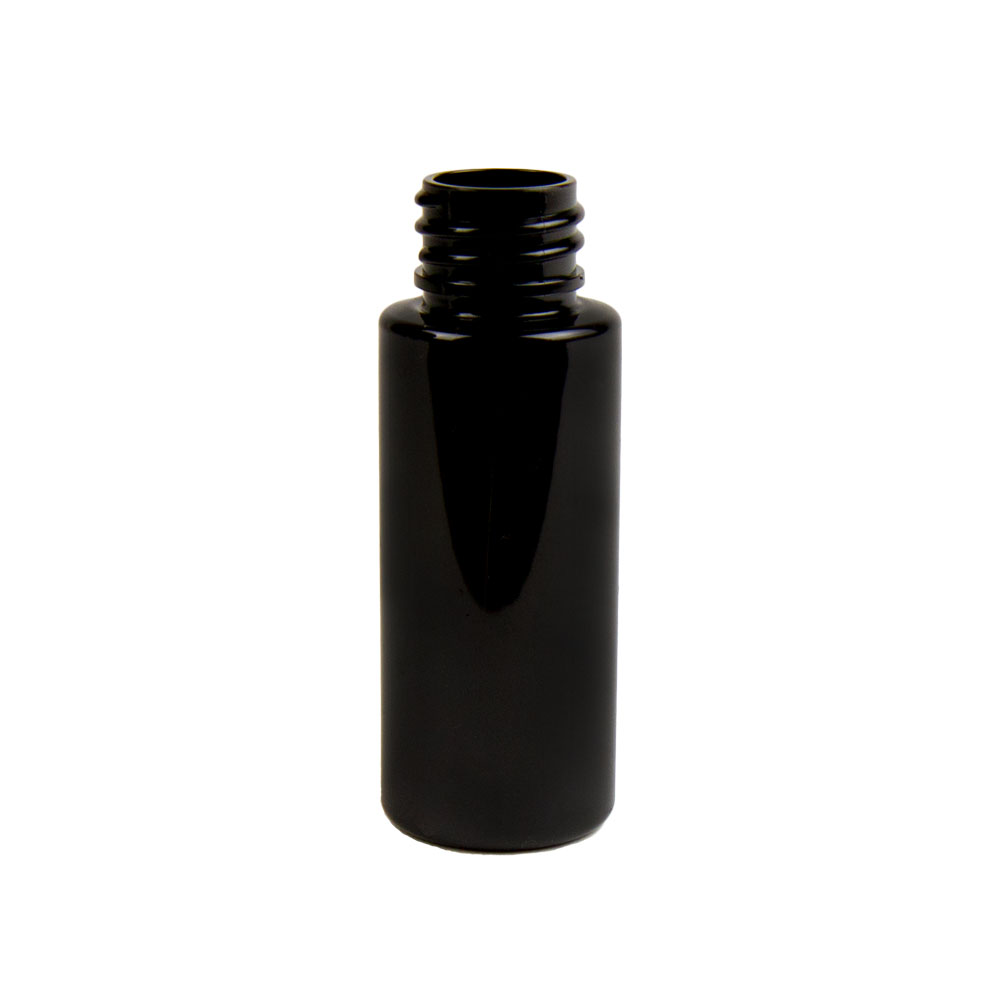 2 oz. Black PET Cylinder Bottle with 20/410 Neck (Cap Sold Separately)