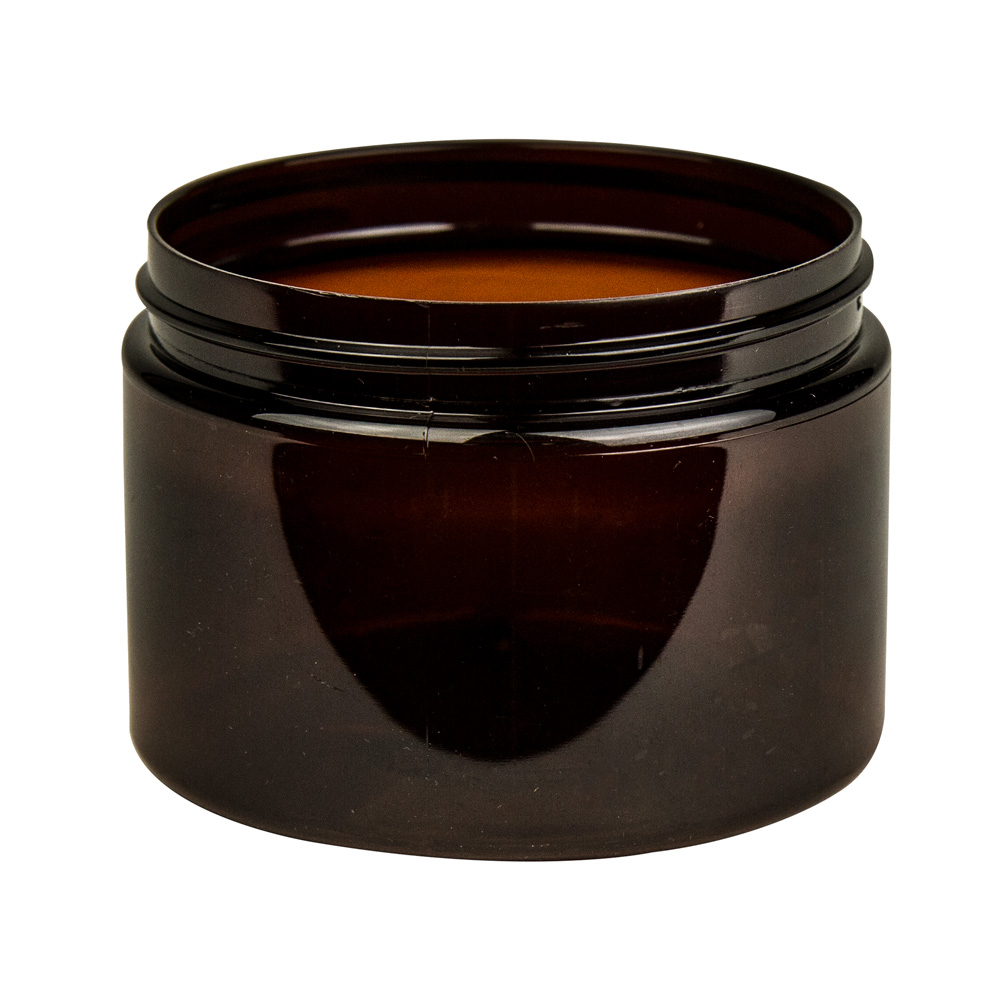 12 oz. Amber PET Straight Sided Jar with 89/400 Neck (Cap Sold Separately)