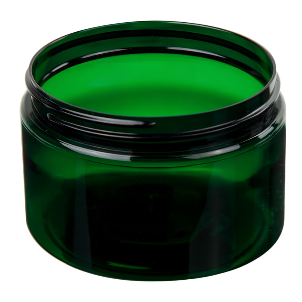 12 oz. Dark Green PET Straight Sided Jar with 89/400 Neck (Cap Sold Separately)