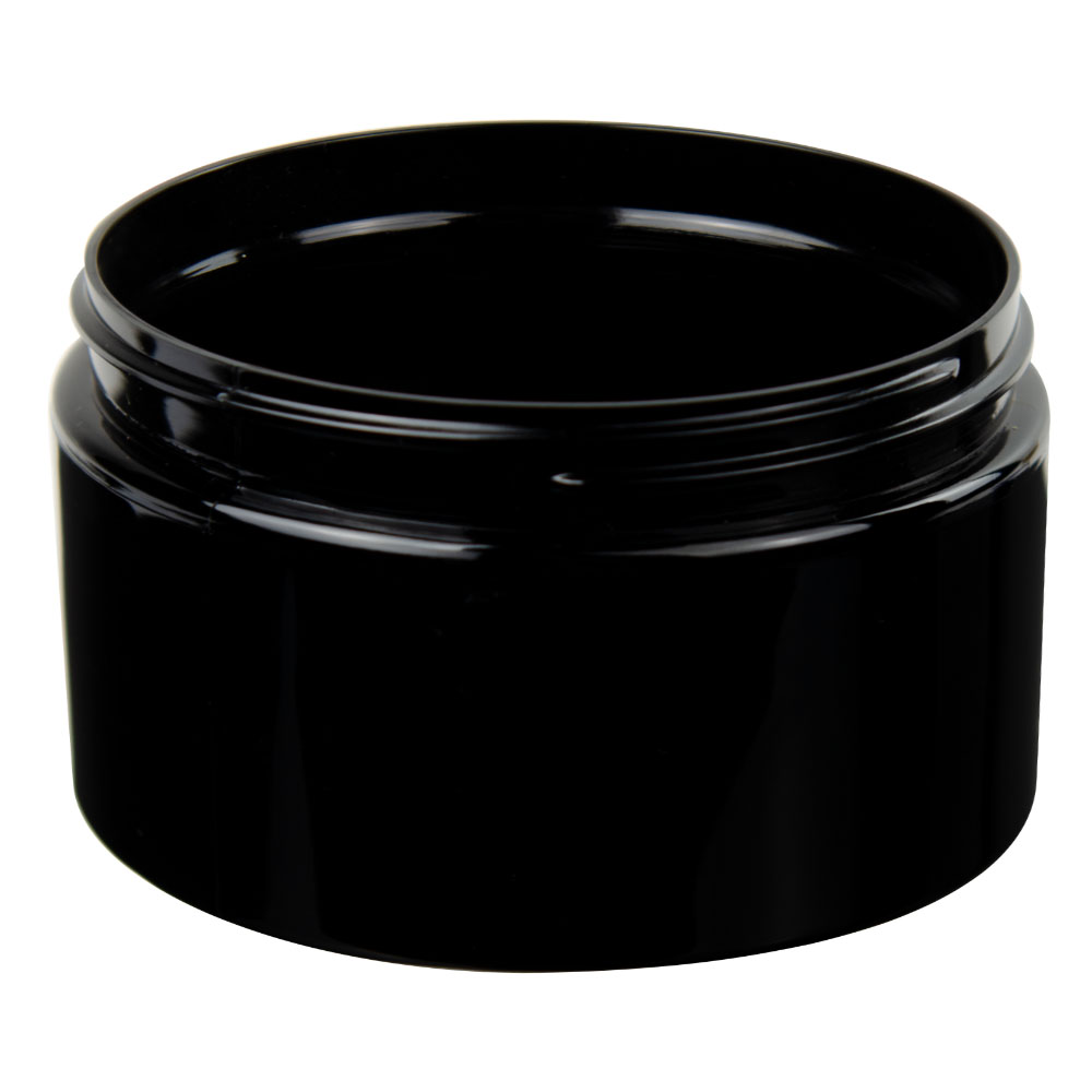 12 oz. Black PET Straight Sided Jar with 89/400 Neck (Cap Sold Separately)