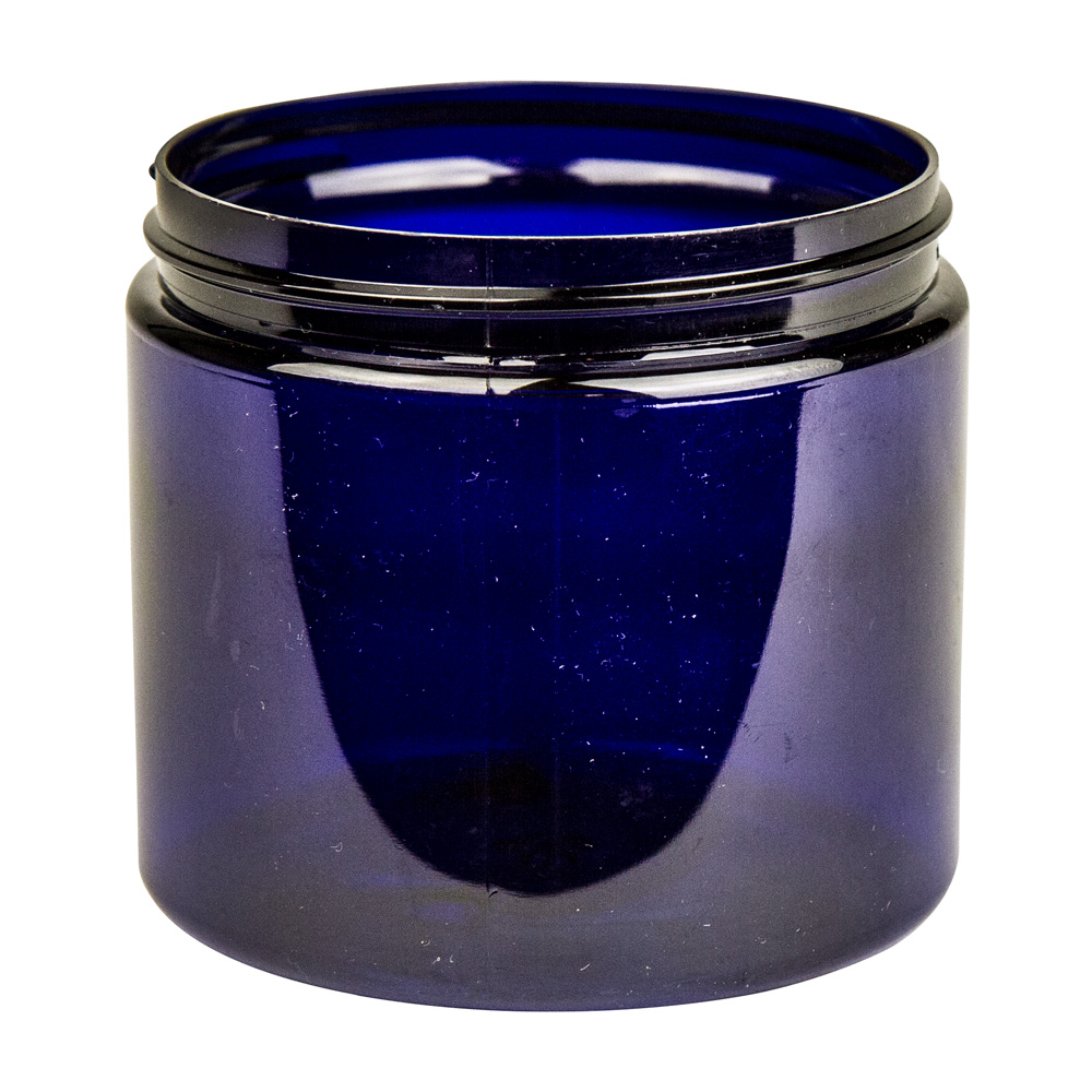 16 oz. Cobalt Blue PET Straight Sided Jar with 89/400 Neck (Cap Sold Separately)